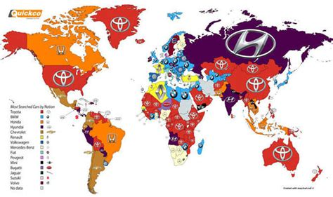 What Do Search For The Most On The Do You Prefer A Bmw Or Toyota Map Of World S Most Popular Cars And Where