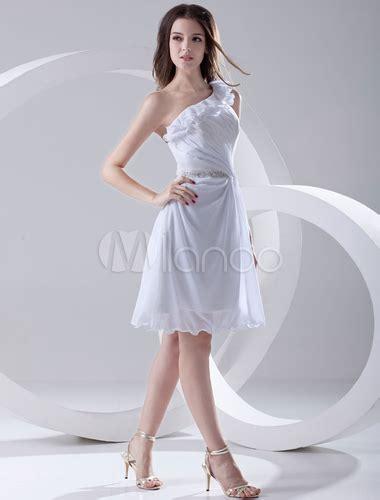 casual a line one shoulder knee length white chiffon party dress cokm14005 white knee length cut out chiffon graduation dress with