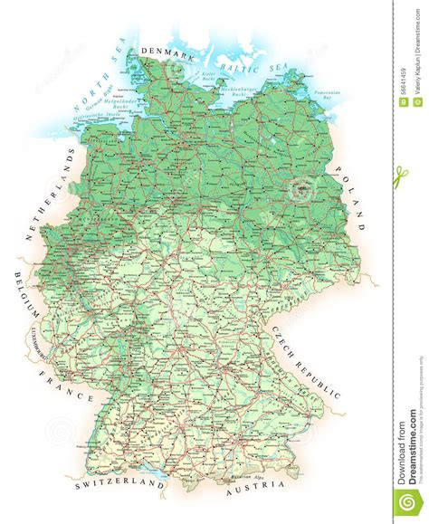 topographic map germany germany detailed topographic map illustration stock