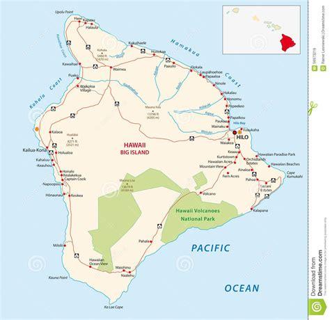 printable road map of hawaii big island road map stock illustration image of hawaii