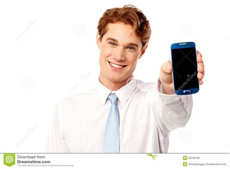 Sales Representative by Salesman Displaying Newly Launched Mobile Stock Photo Image 35248120
