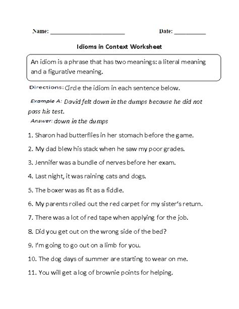 19 best images of idioms worksheets for 5th grade parts