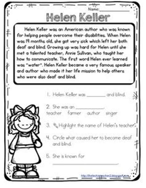 hellen keller scholastic biography questions amelia earhart reading passage keys reading and