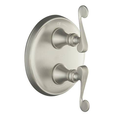 shop kohler revival vibrant brushed nickel 2 handle high kohler revival 2 handle valve trim kit in vibrant brushed