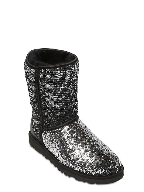 ugg sparkle boots ugg classic sparkle sequined boots in silver black