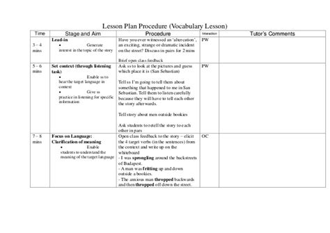 army lesson plan template celta course activities