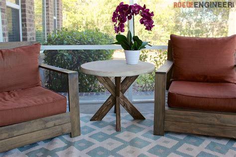 diy x brace side table w concrete top free easy plans