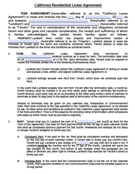 Apartment Rental Forms California Free California Residential Lease Agreement Pdf Word