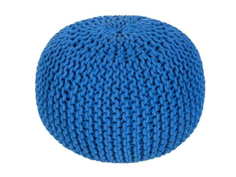 blue knitted pouffe photo page hgtv