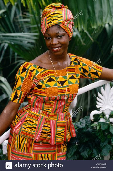 ghana african traditional outfit ghana young woman in kente cloth dress stock photo