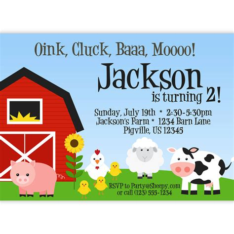 printable farm animal birthday invitations farm invitation barn animals pig chicken sheep and