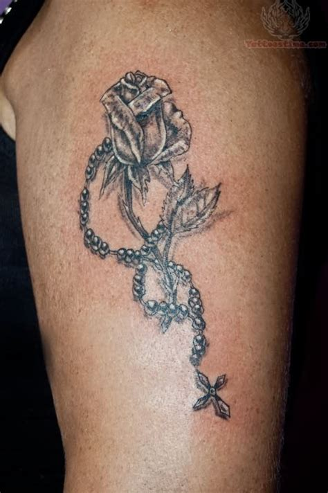 rose with a rosary tattoo and rosary design