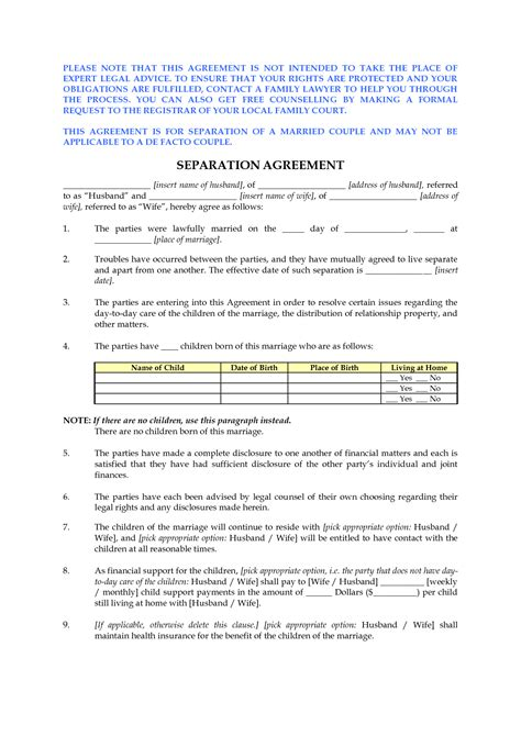 free separation agreement templates marriage best