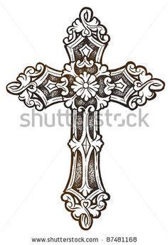 ornate cross tattoos pin ornate cross stock photo 87481168