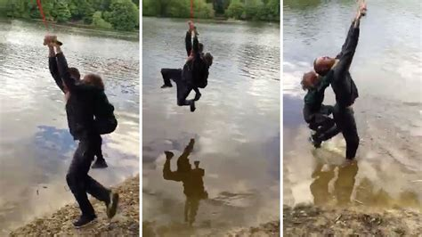 rope swing fail dad choked unconscious when daughter holds on too tight in