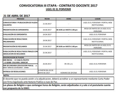 contrato docente 2017 plazas ugel 01 el porvenir convocatoria iii etapa contrato