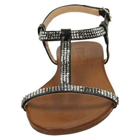 Sandal Wedges Wanita Mr92 031 spot on flat diamante t bar sandals style 031 ebay