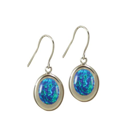 blue opal earrings idaho dark blue opal drop silver pierced earrings mm