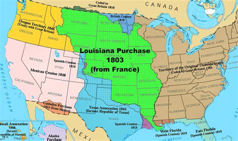 louisiana purchase map activity which area on the map was purchased from in 1803