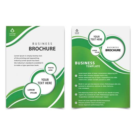 free professional brochure templates green professional business brochure template vector