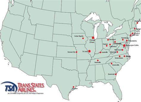 map of usa states with routes united express trans states airlines route map