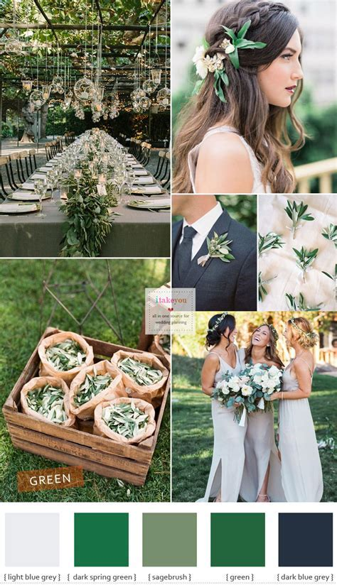 Green wedding theme ideas { Different shades of green