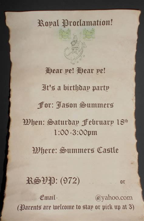 medieval times birthday invitation printed invitation