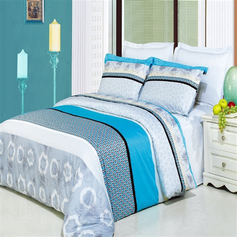 turquoise bedding set 4pc gray black turquoise white 300tc egyptian cotton