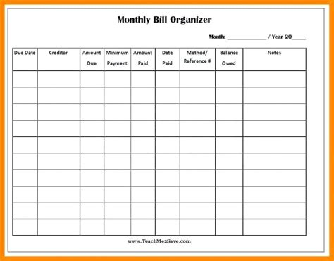 11 Free Printable Bill Payment Schedule Salary Format Monthly Bill Spreadsheet Template Free
