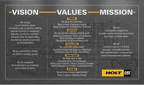 vision design management holt cat mission vision values based leadership