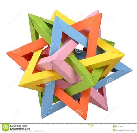Origami Five Intersecting Tetrahedra - origami five intersecting tetrahedron stock photo image