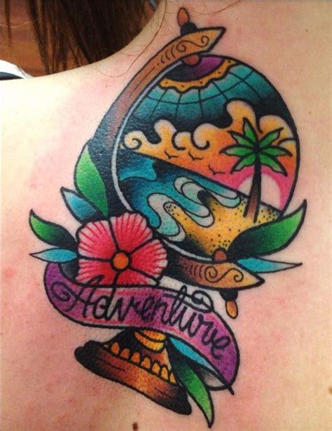 frase adventure y globo terraqueo by tilly dee tatuajes