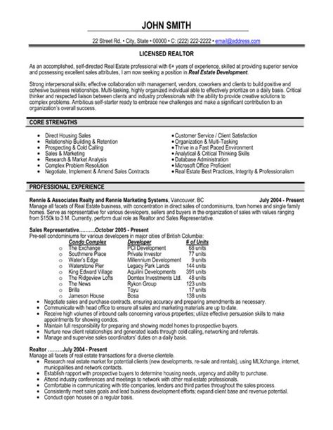 Resume Sle For Real Estate Salesperson Professional Real Estate Resume With 28 Images Resume Exle Real Estate Professional Resume