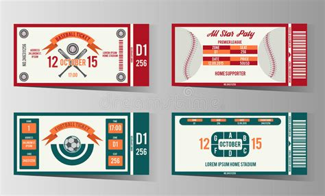 baseball card design template football soccer and baseball ticket vector design stock