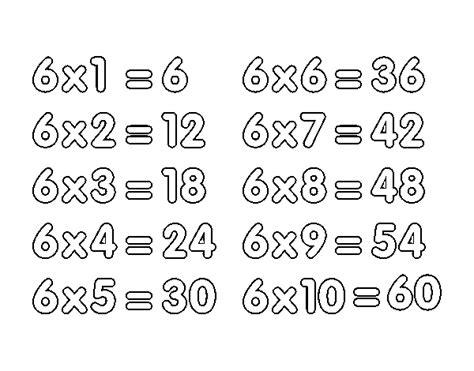 la table de six la tabla de multiplicar 6 search results for table de