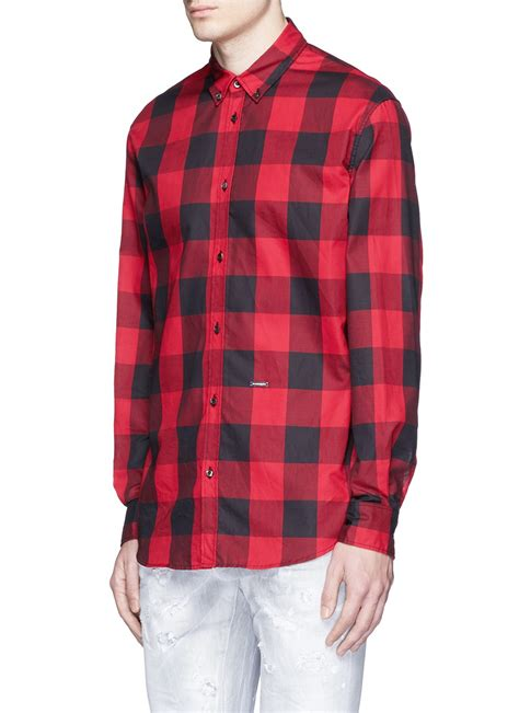 Cotton Plaid Shirt lyst dsquared 178 check plaid cotton shirt in for
