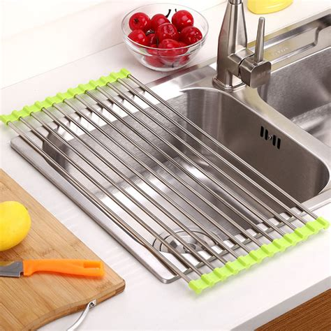 kitchen sink storage dish drying rack holder fruit