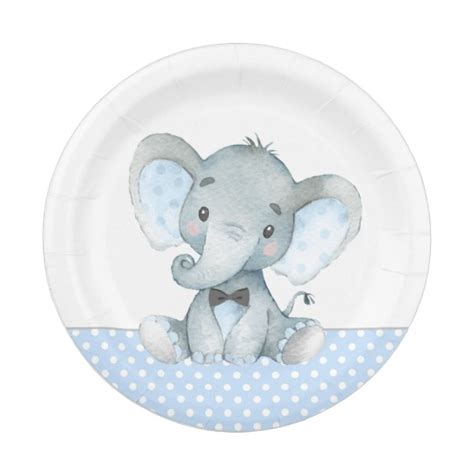 Elephant Baby Shower Plates And Napkins by Boy Baby Elephant Baby Shower Paper Plates Zazzle