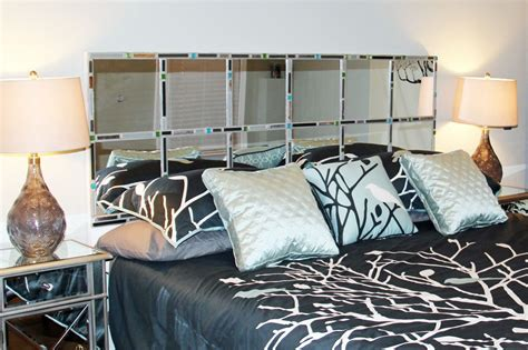 diy mirror mosaic headboard for king bed 22 hollow door from lowe s 2 boxes 12 quot x12