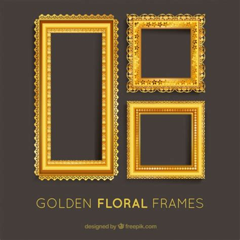 Square Marco Oval set of golden floral frames vector free