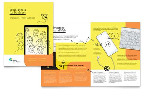 social media consultant brochure template design