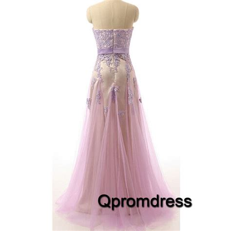 Handmade Prom Dress - beautiful lilac lace a line handmade prom dress for