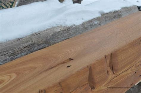 hand hewn red elm fireplace mantel beam ironing slave antique woodworks