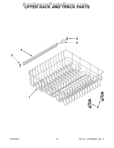 whirlpool dishwasher rack parts parts for whirlpool iud7500bs0 upper rack and track parts appliancepartspros com