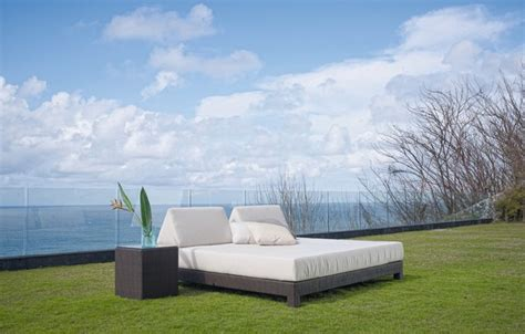 rosalie outdoor patio chaise lounge sunbed and canopy skyline design anibal outdoor daybed contemporary