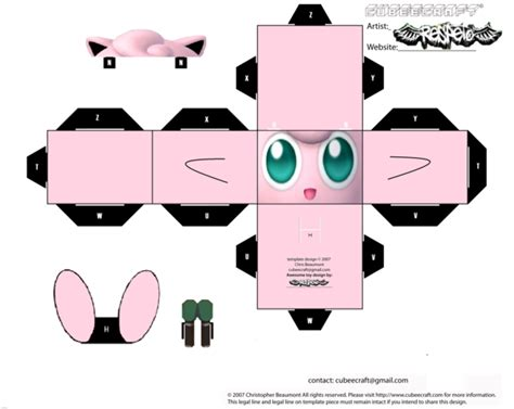 Jigglypuff Origami - jigglypuff cubee template by respeto6 on deviantart