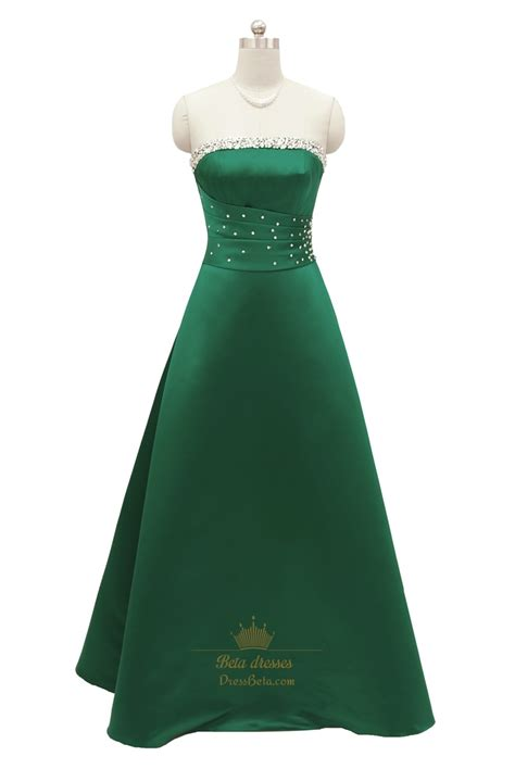 beaded evening gown emerald green strapless sleeveless prom dress with