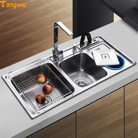 kitchen wash basin designs tangwu dual trough sink kitchen stainless steel wash basin