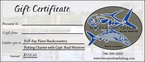 fishing gift certificate template miami florida fishing guides holliday gift certificates