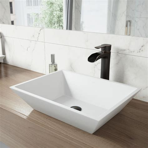 Where Are Vigo Sinks Made by Vigo Vinca Matte Vessel Sink In White With Niko